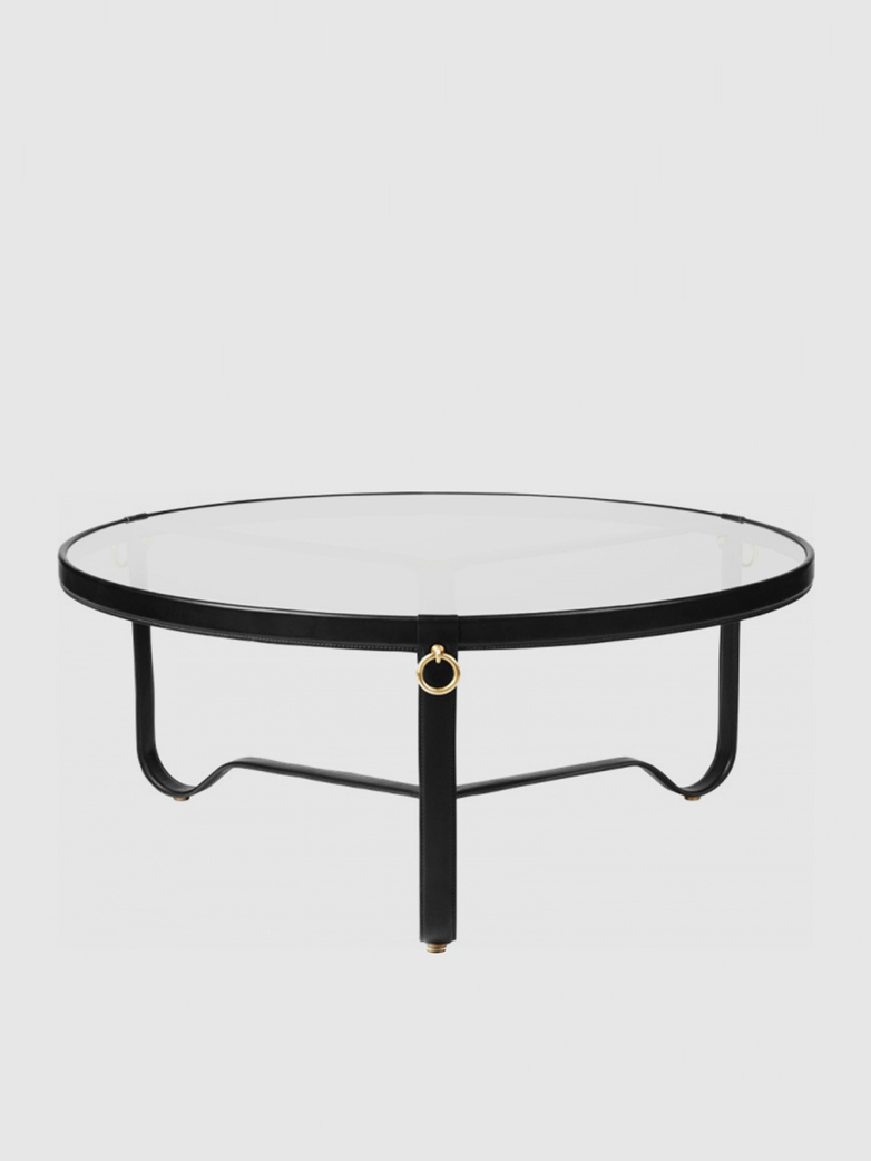 Adnet Coffee Table – Black Leather - Large