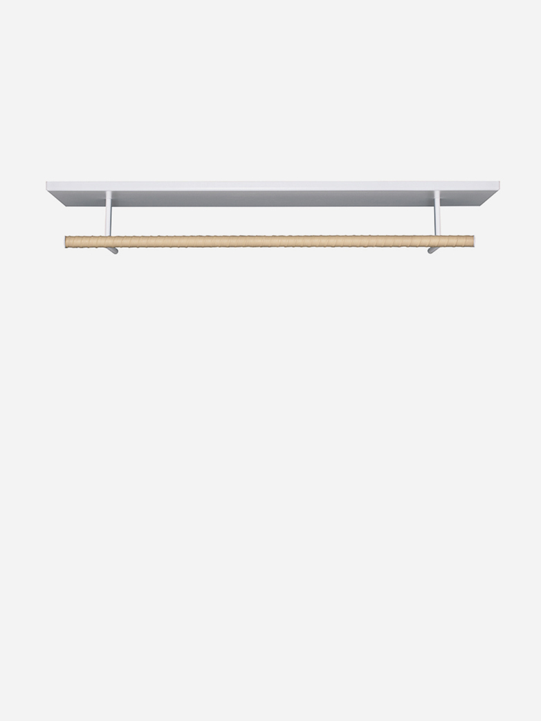Belle Hat Rack – White – Nature Leather - 120 cm