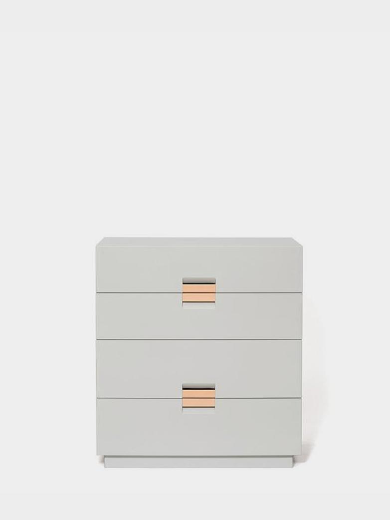 Frame Drawer Medium – Light Grey - Natural Leather