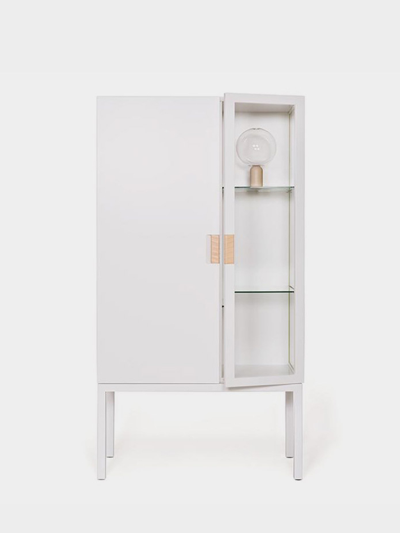 Frame Semi Cabinet – White - Natural Leather