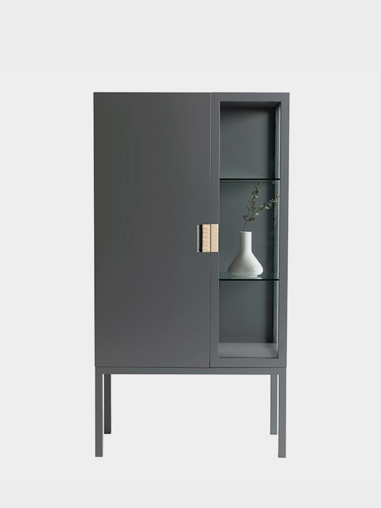 Frame Semi Cabinet – Storm Grey - Natural Leather