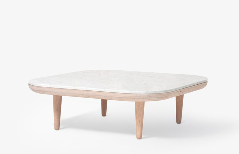 Fly Table SC4 – White Oiled Oak Base – Honed Bianco Carrara Marble