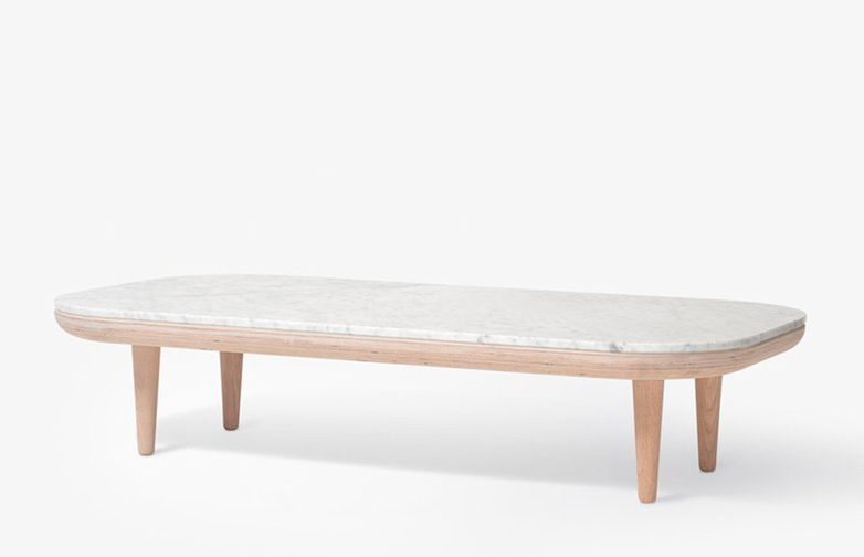 Fly Table SC5 – White Oiled Oak base – Honed Bianco Carrara marble