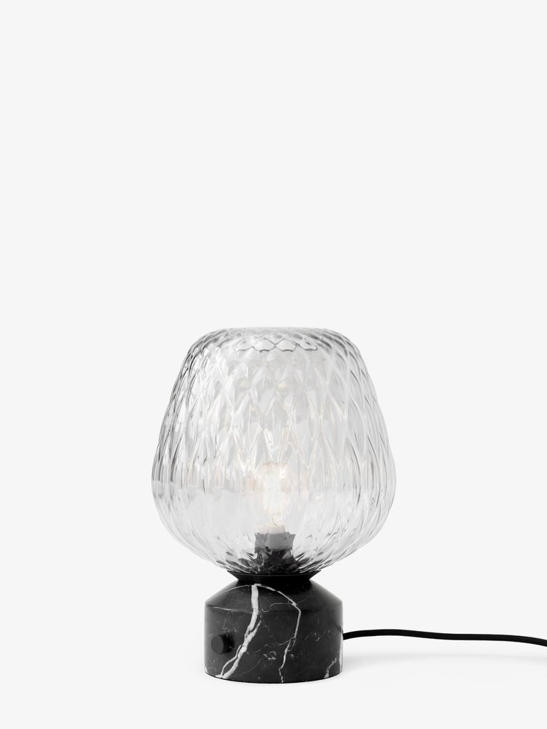 Blown SW6 Table Lamp – Silver Lustre & Black Marble