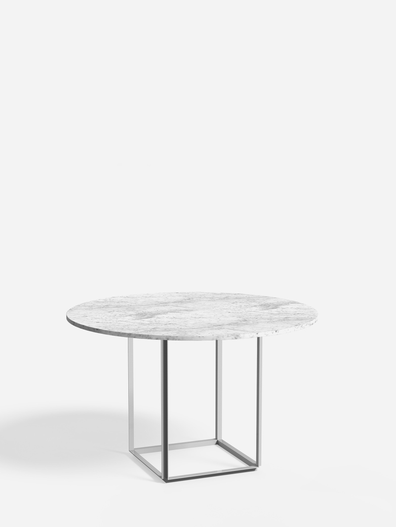 Florence Dining Table – White Metalic/White Marble – Ø120