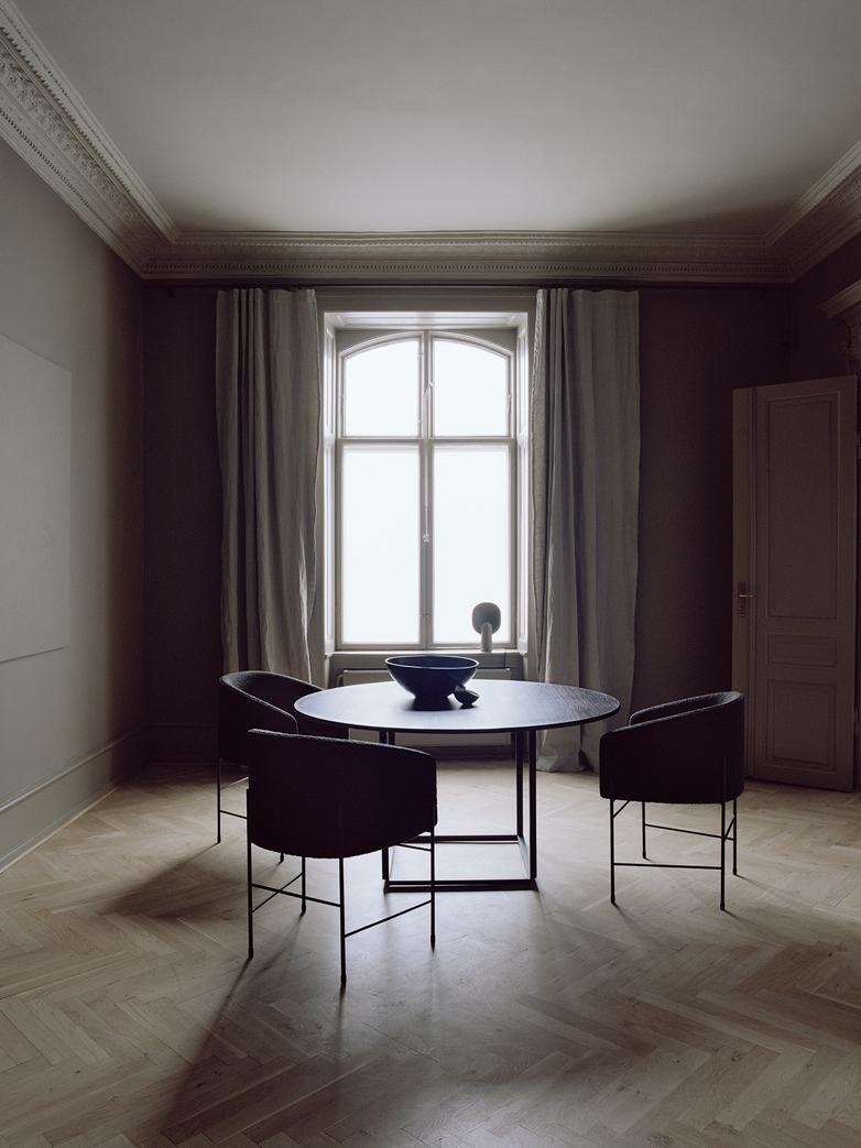 Florence Dining Table – White Metalic/White Marble – Ø120