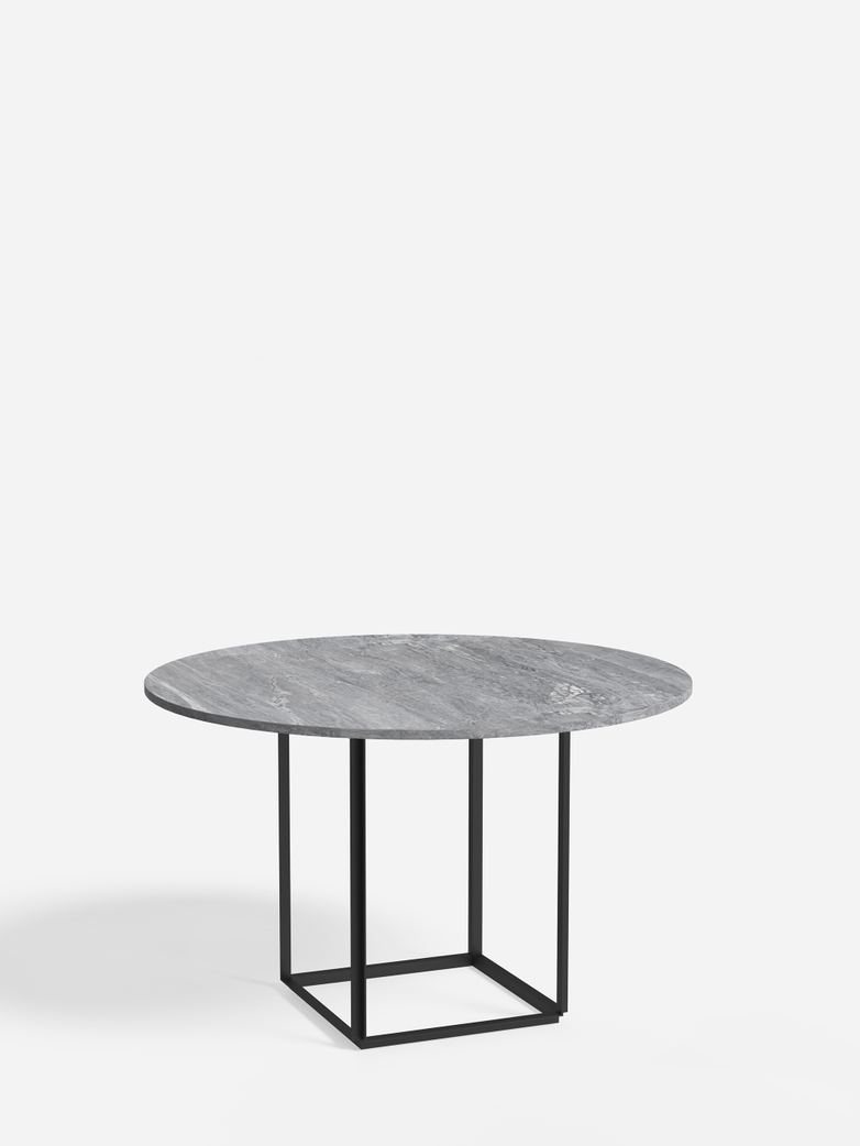 Florence Dining Table – Black Iron/Grey Marble – Ø120