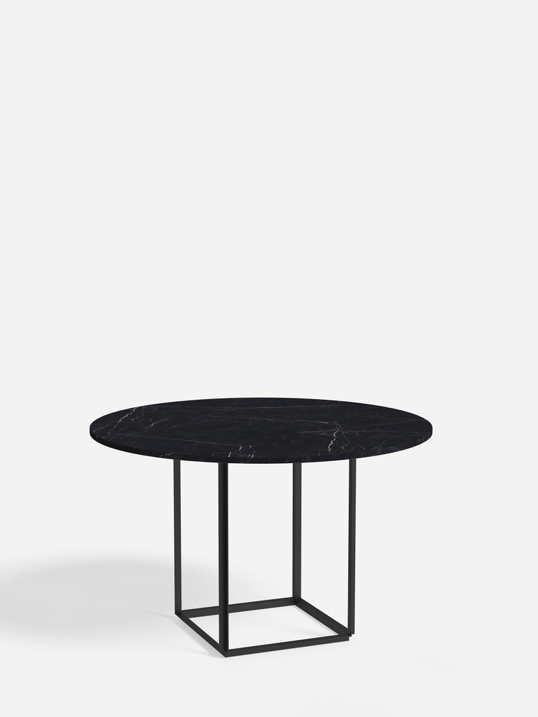 Florence Dining Table – Black Iron/Black Marble – Ø120