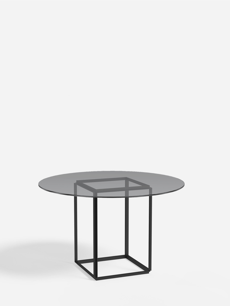 Florence Dining Table – Black Iron/Smoked Glass – Ø120