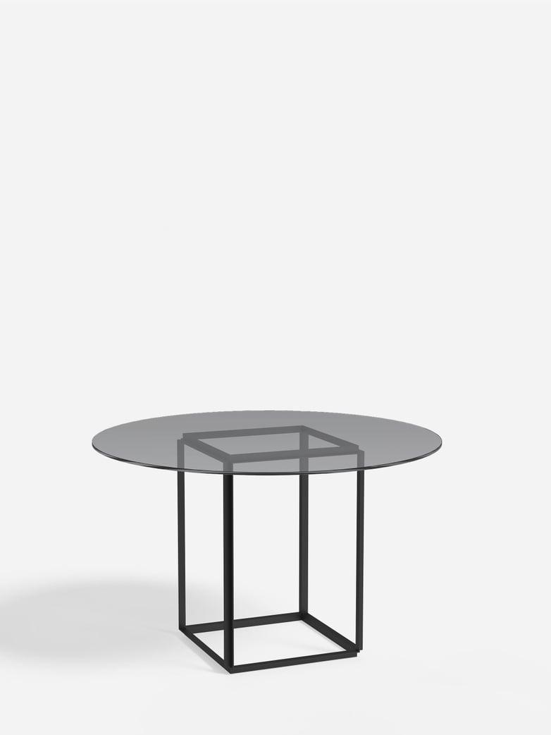 Florence Dining Table – Black Iron/Smoked Glass – Ø120
