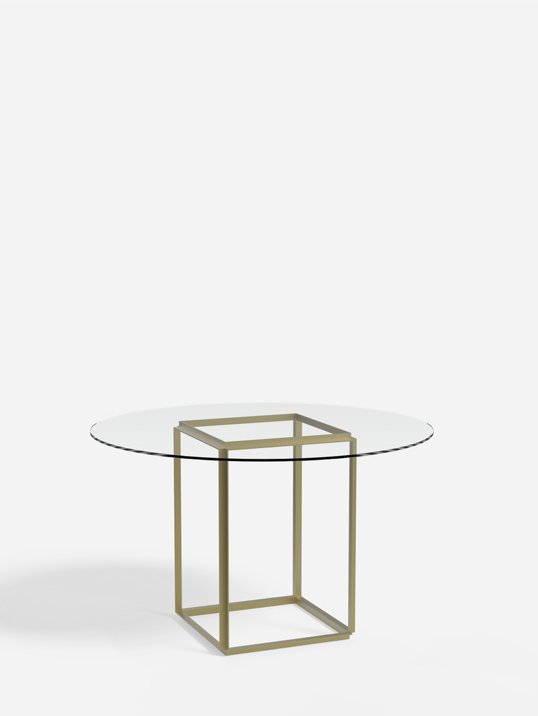 Florence Dining Table – Raw Gold/Clear Glass – Ø120