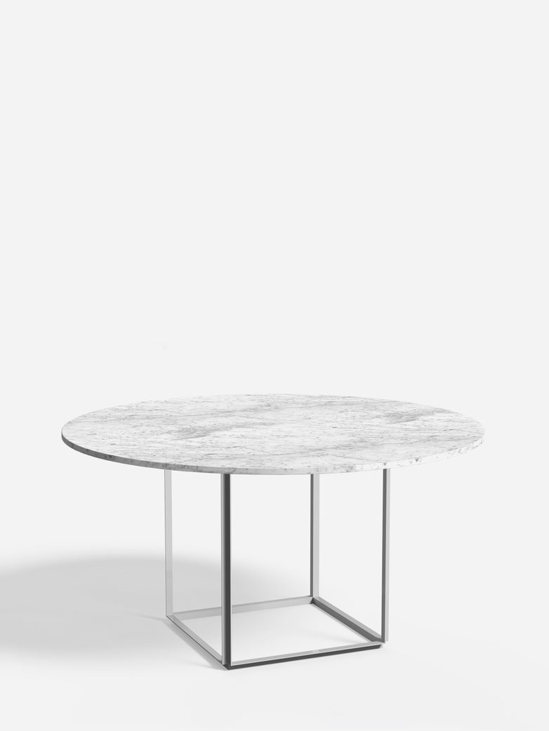 Florence Dining Table – White Metalic/White Marble – Ø145