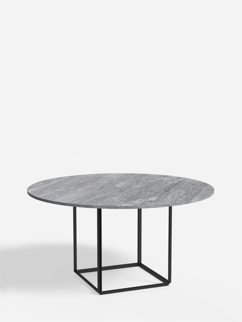 Florence Dining Table – Black Iron/Grey Marble – Ø145
