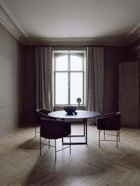 Florence Dining Table – Black Iron/Black Marble – Ø145