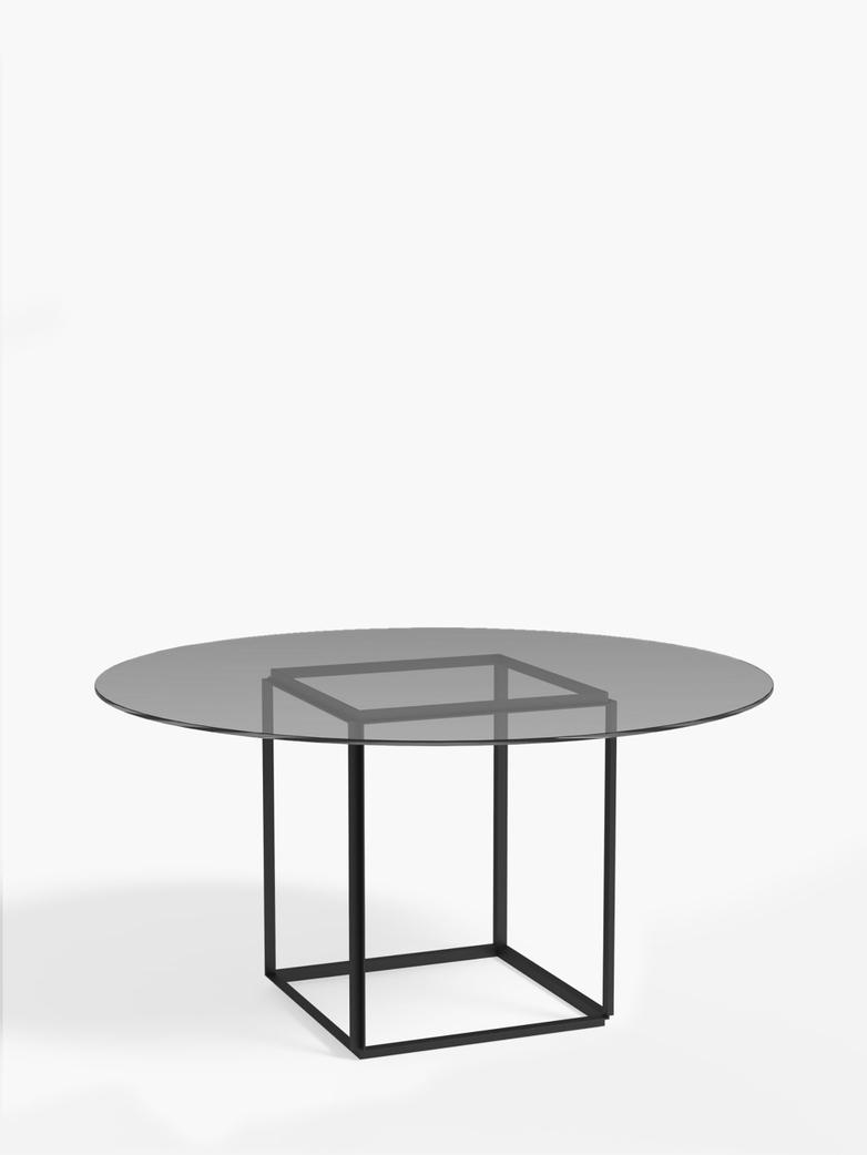 Florence Dining Table – Black Iron/Smoked Glass – Ø145