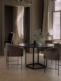 Florence Dining Table – Raw Gold/Clear Glass – Ø145