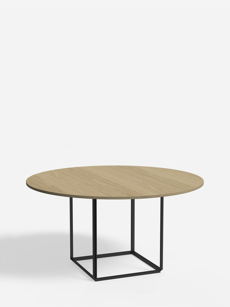 Florence Dining Table – Black Iron/Oiled Oak – Ø145