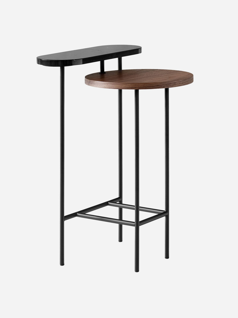 Palette JH26 Side Table – Nero Marquina Marble and Walnut Veneer