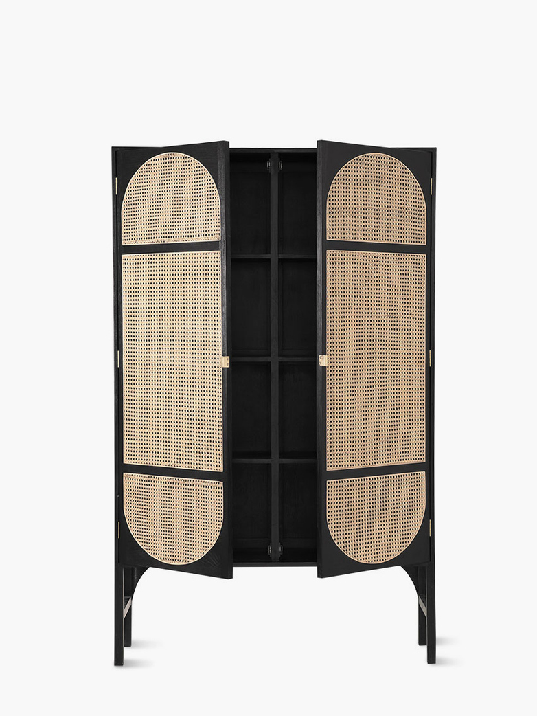Retro webbing cabinet black with shelves