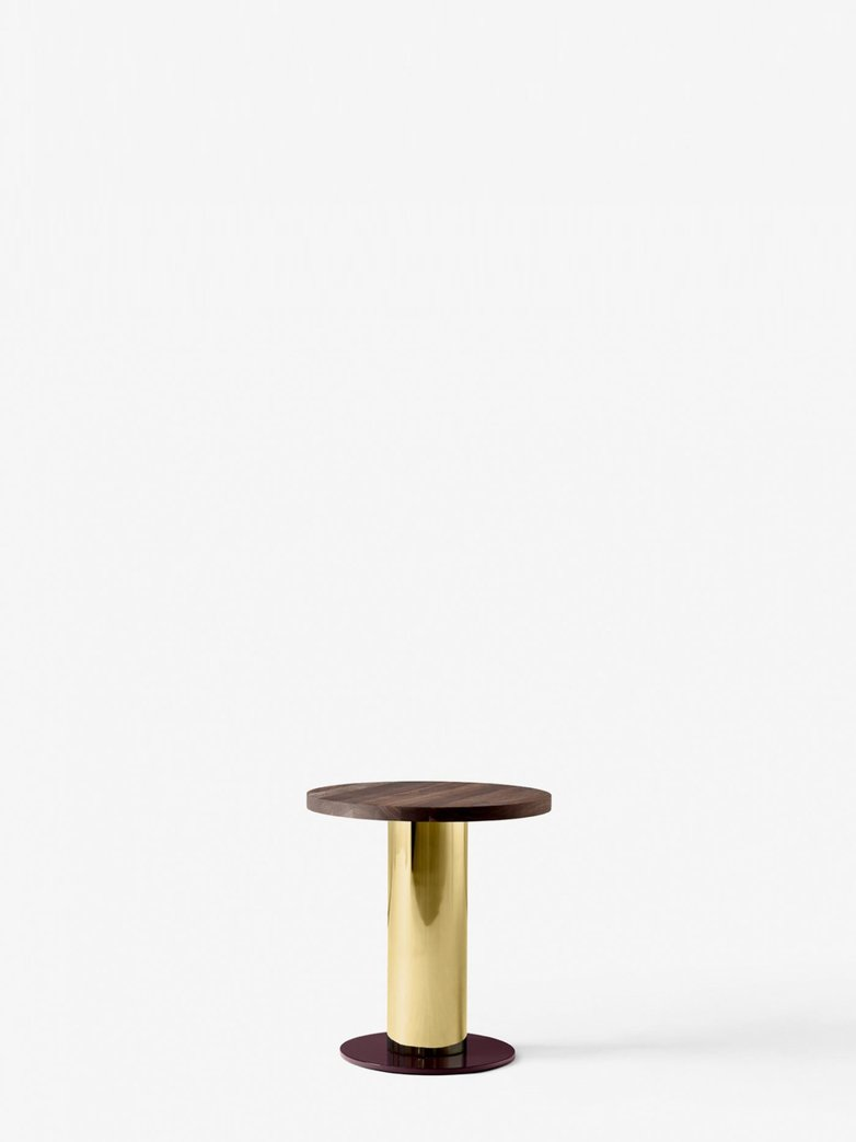 Mezcla JH19 Sofa Table – Walnut/Brass/Burgundy – Ø42