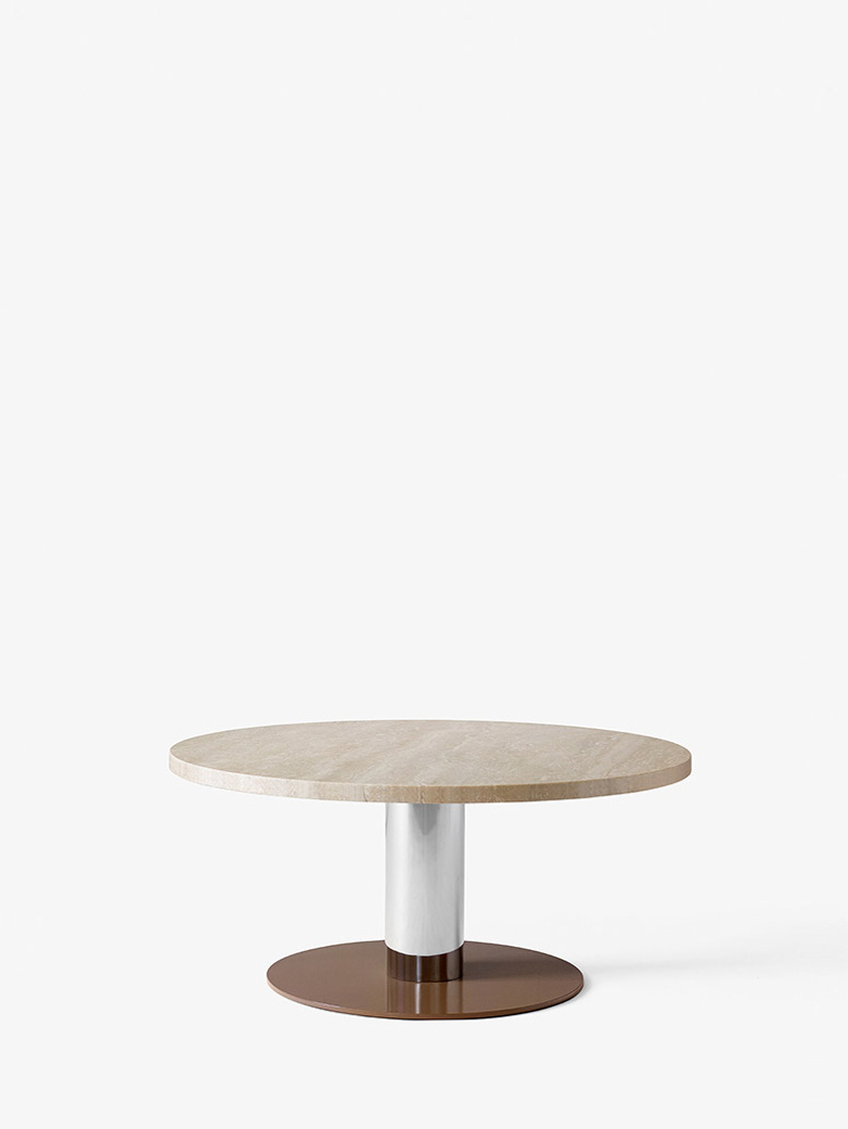 Mezcla JH20 Lounge Table – Travertine/Chrome/Clay – Ø80