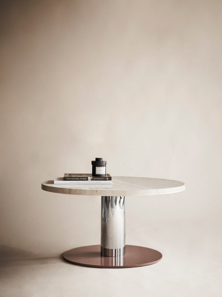 Mezcla JH20 Lounge Table – Travertine/Chrome/Clay – Ø80