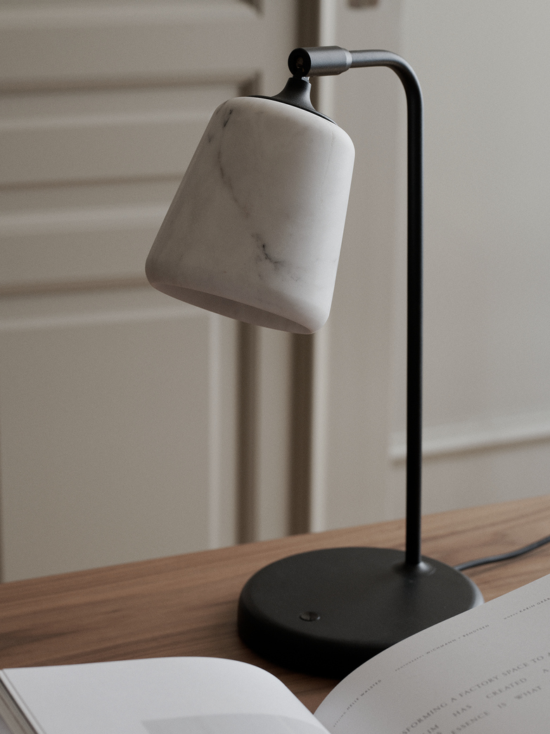 Material Table Lamp – White Marble