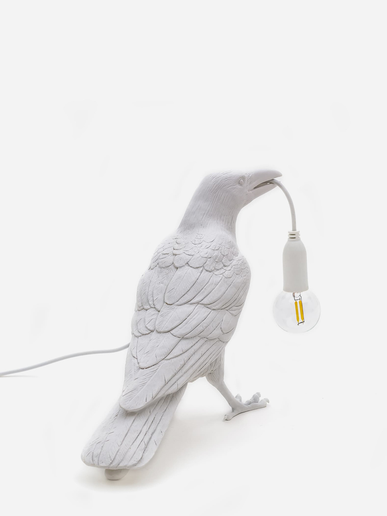 Bird Lamp Waiting – White