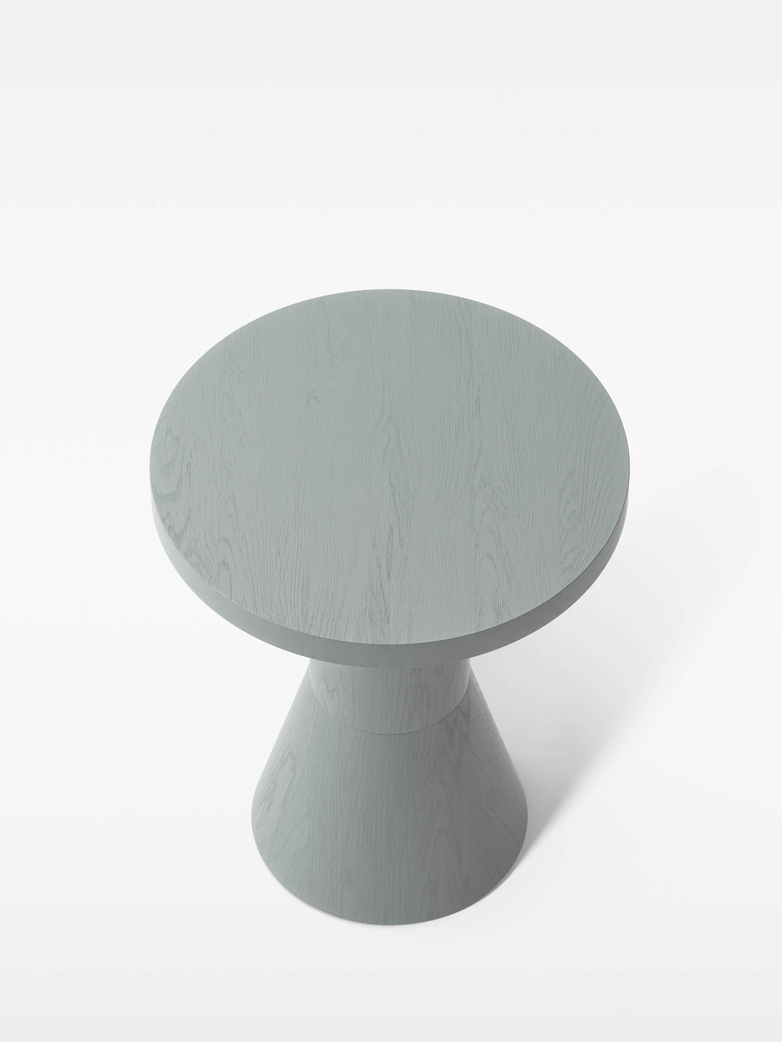 Draft Side Table – Grey Stained Ash – Ø40