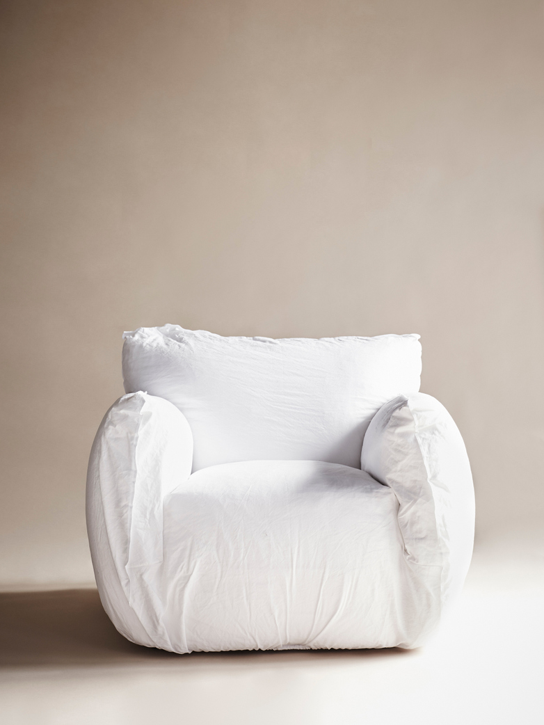 Nuvola 05 Lounge Chair - Natural Lino Bianco