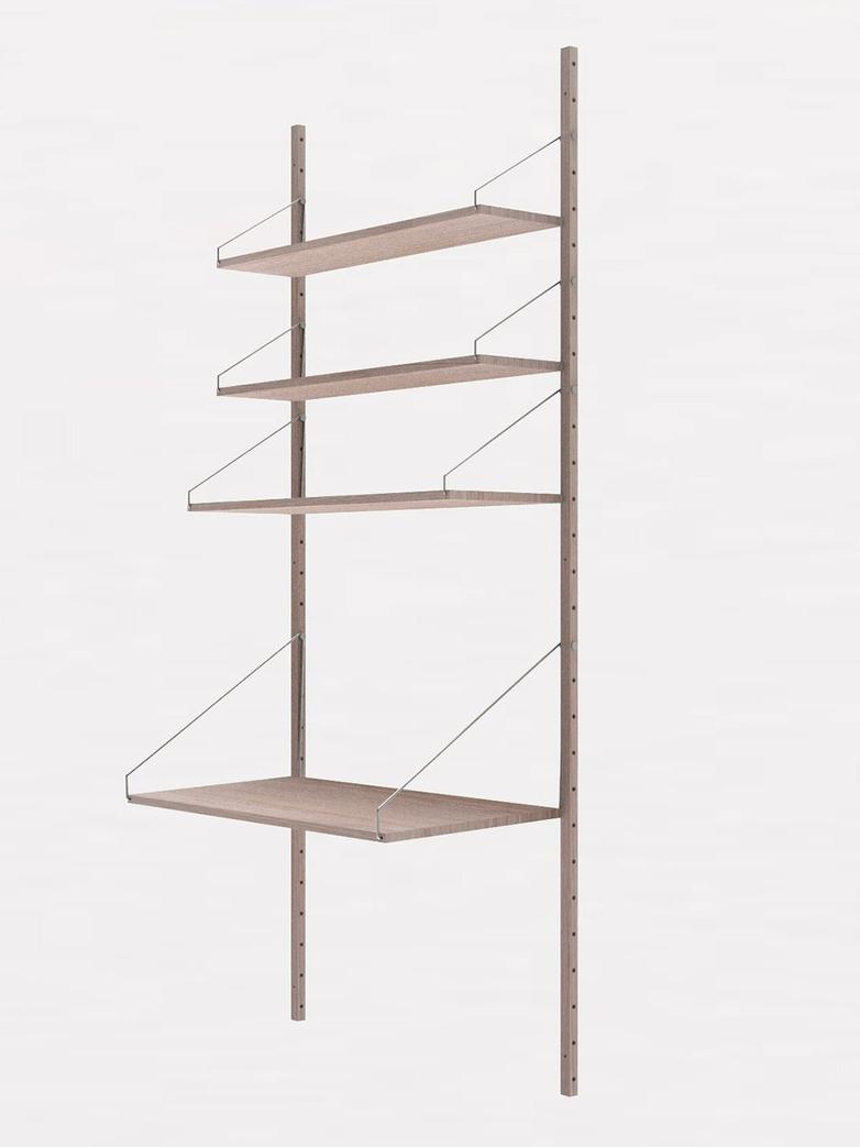 Shelf Library H185 Desk Section – White
