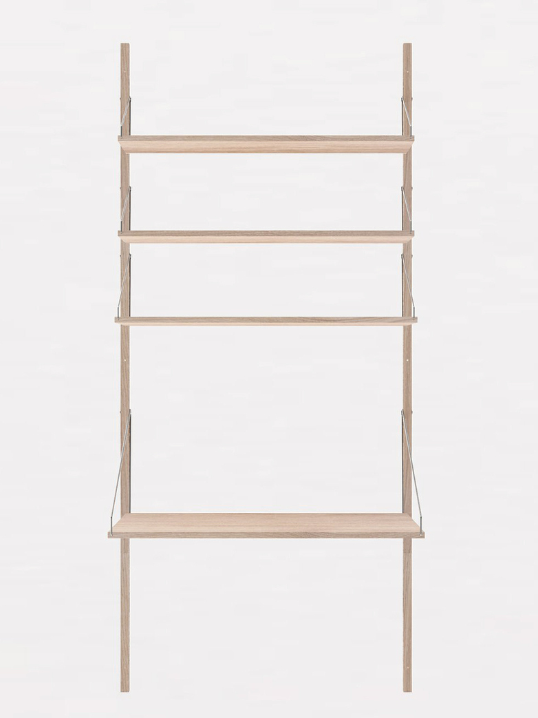Shelf Library H185 Desk Section – White