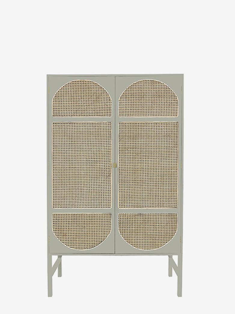 Retro webbing cabinet light grey with shelves