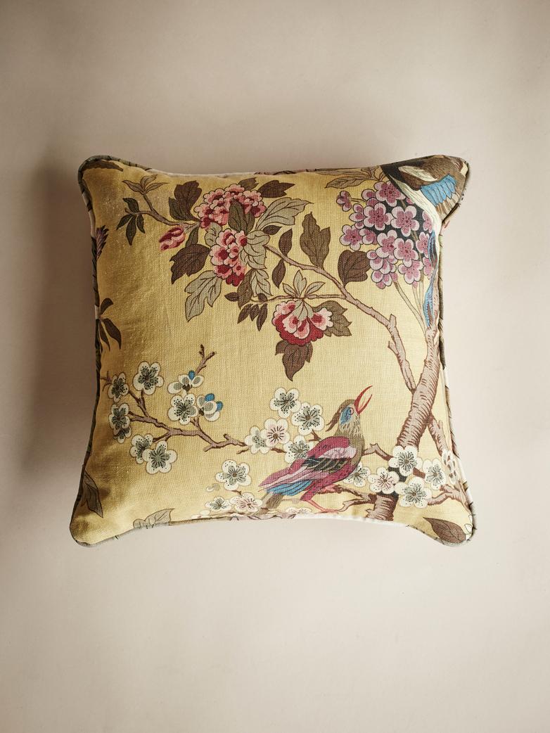 Hydrangea Bird – Ochre – 50 x 50