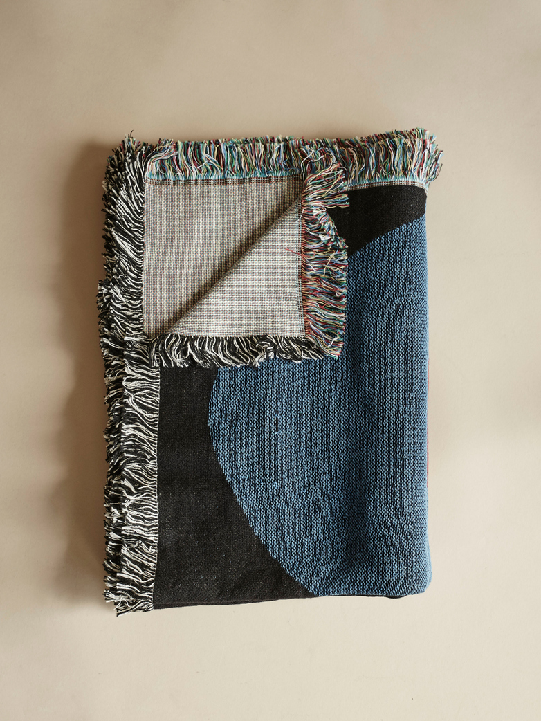 Tapestry Blanket – Black/Blue
