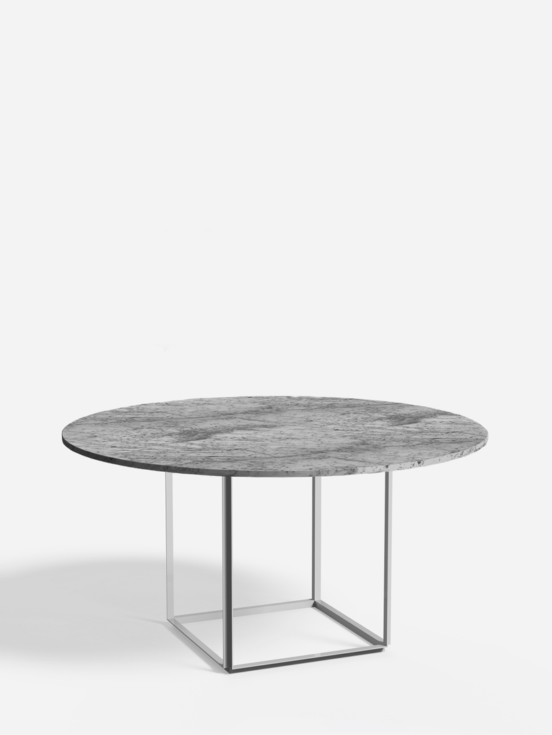 Florence Dining Table – White Metalic/Grey Marble – Ø145