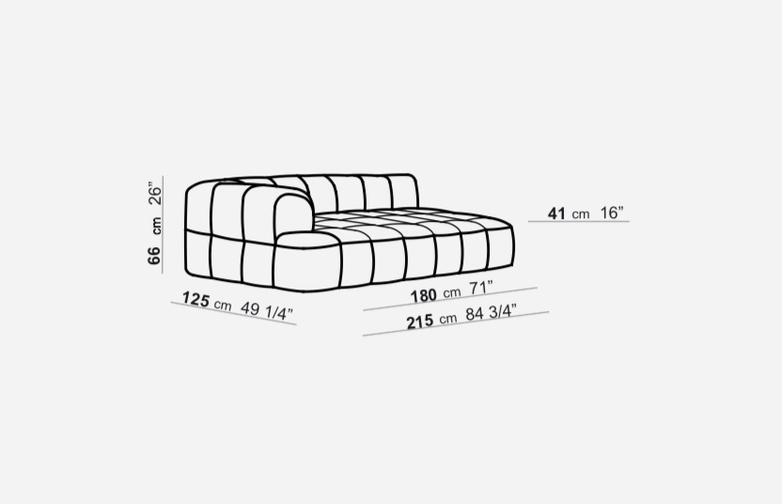 Element with 1 Short Armrest - 125 x 215 - T2