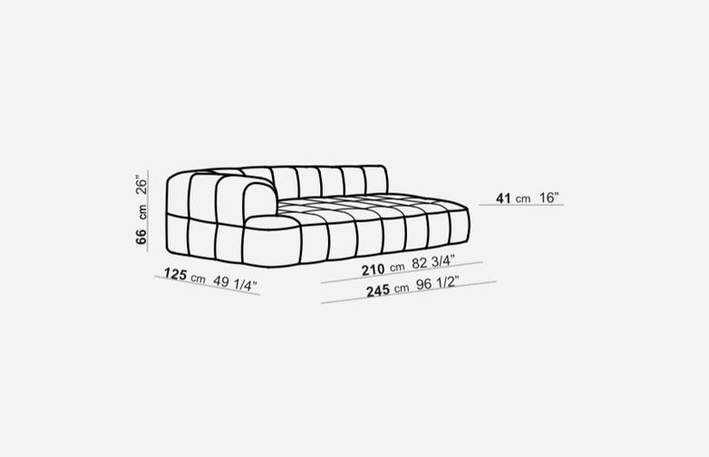 Element with 1 Short Armrest - 125 x 245 - T2