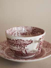 Tea Cup with Saucer – Cranberry Italian