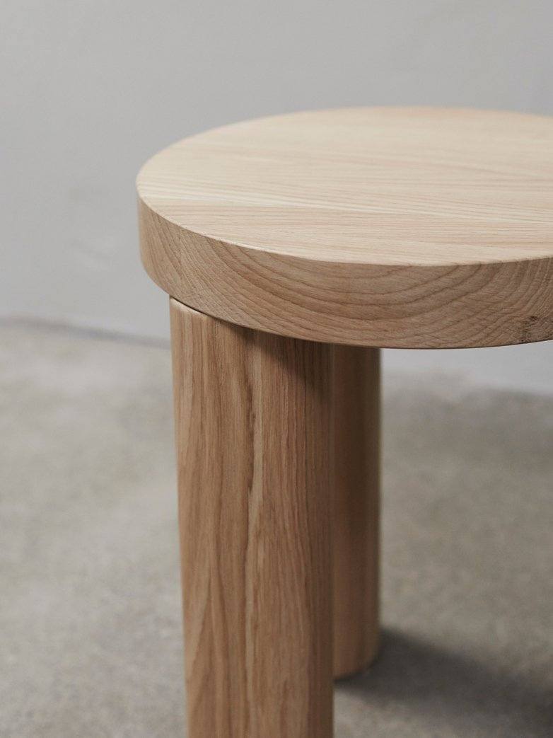 Offset Stool/Side Table – Natural Oak