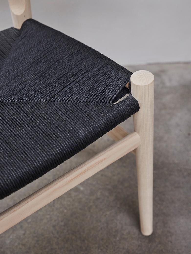 PP68 Chair – Ash – Black Paper Cord