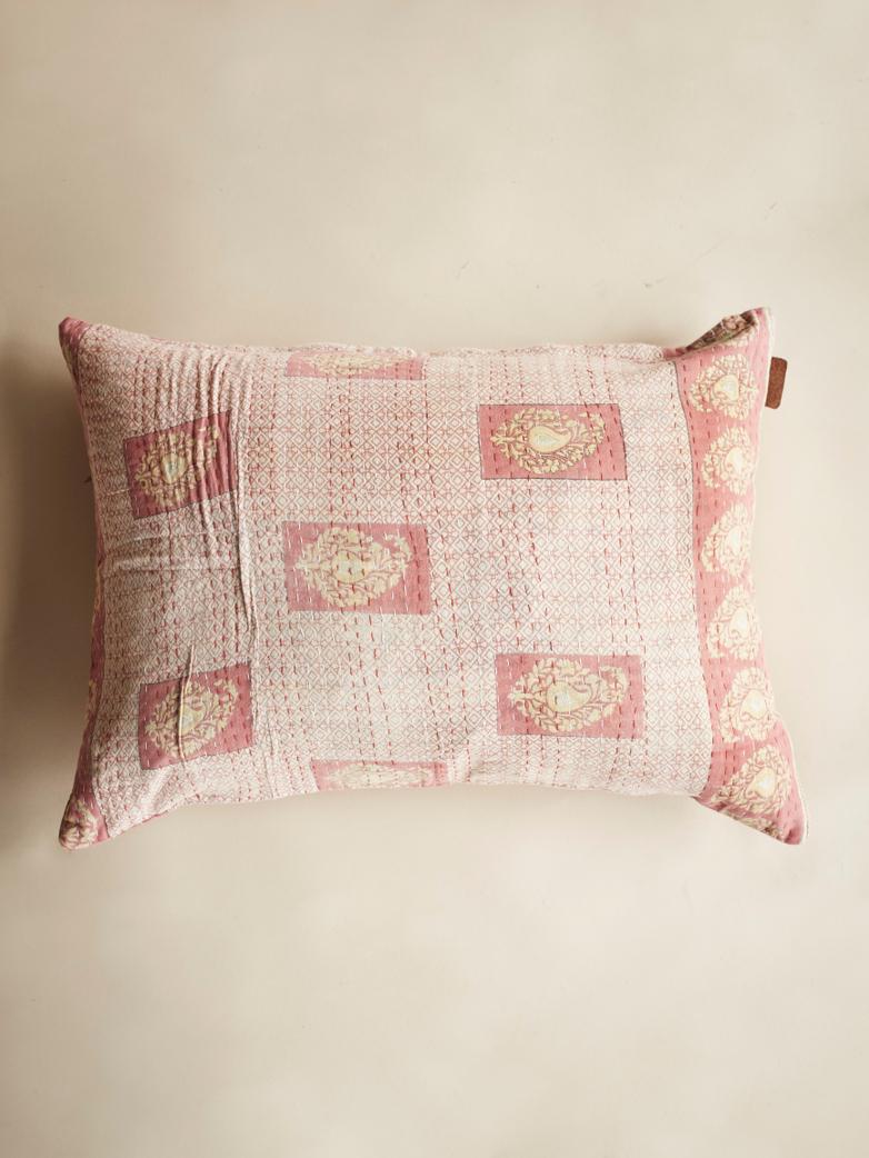 Sari Kantha –  Cherry Pink – 50 x 70