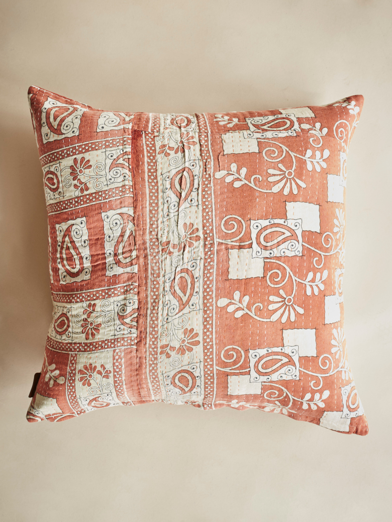 Sari Kantha – Soft Orange – 65 x 65