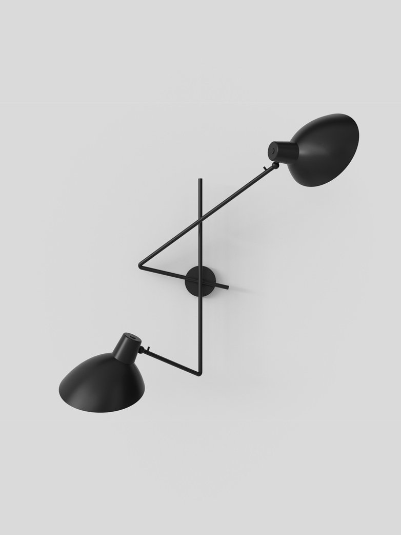 Cinquanta Twin Wall Lamp - Black/Black