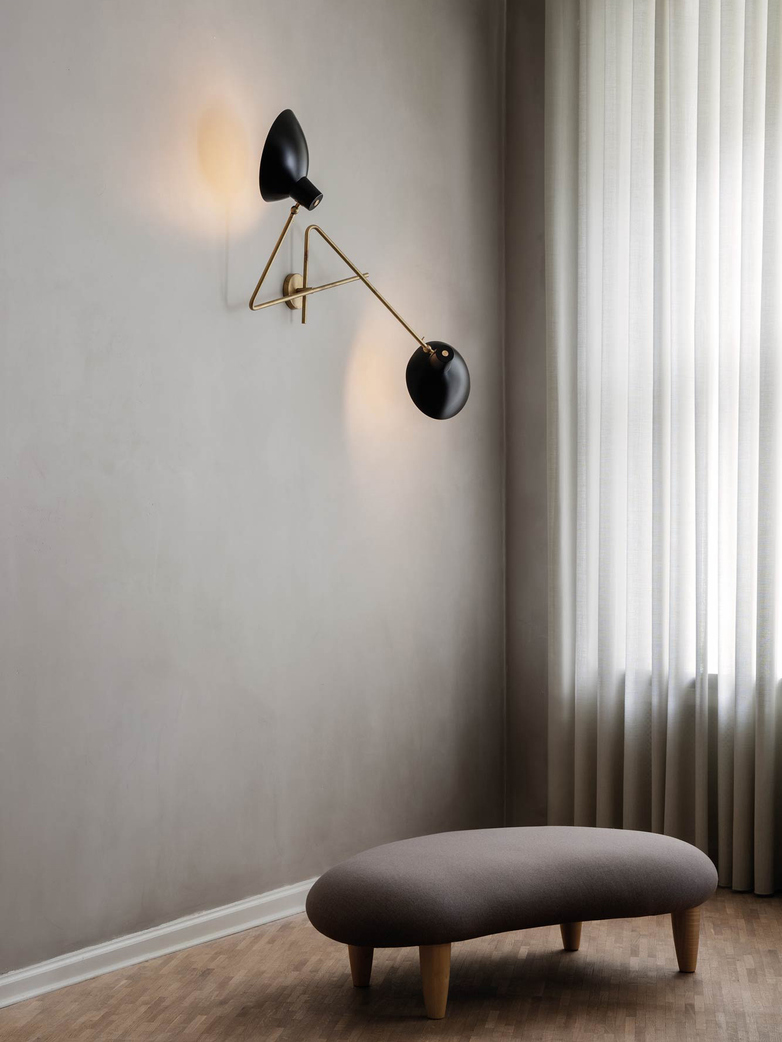 Cinquanta Twin Wall Lamp - Brass/Black