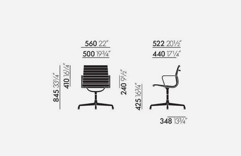 Aluminium Chairs – EA 108 – Chrome – Netweave – Dark Grey