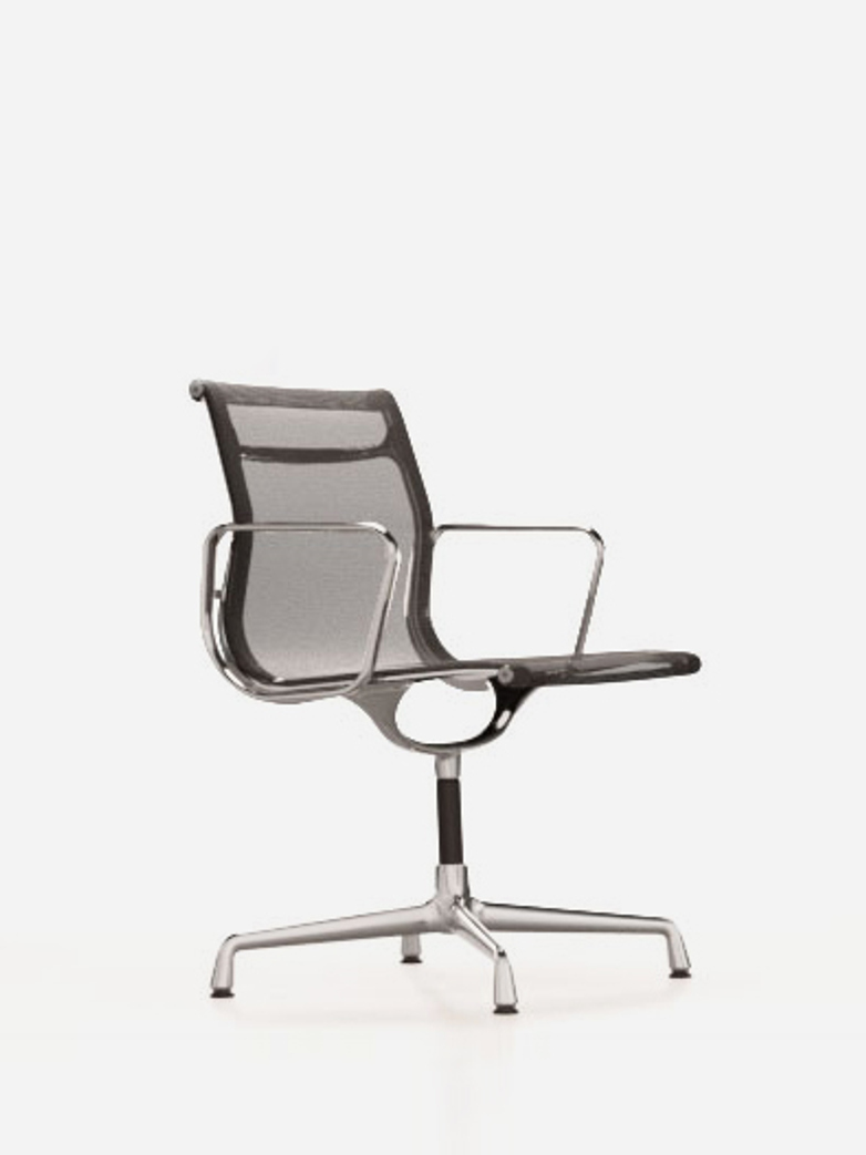 Aluminium Chairs – EA 108 – Chrome – Netweave – Dark Grey