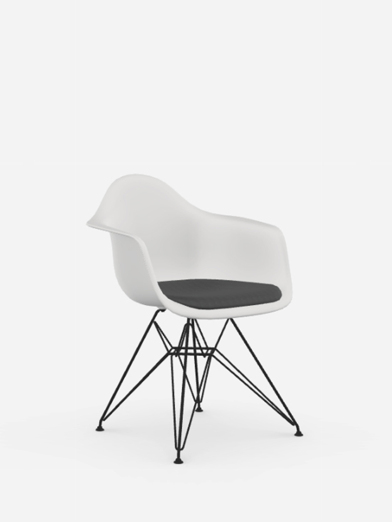 Eames Plastic Chair – DAR – Upholstered seat – White/Dark Grey