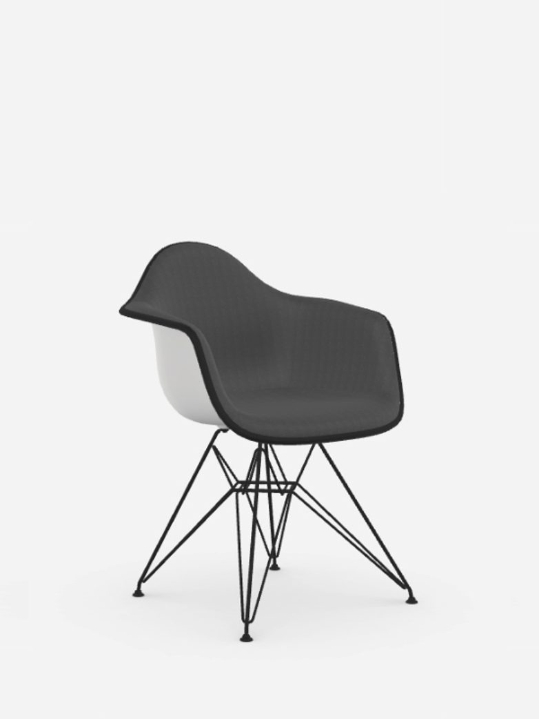 Eames Plastic Chair – DAR – Full Upholstery – White/Dark Grey