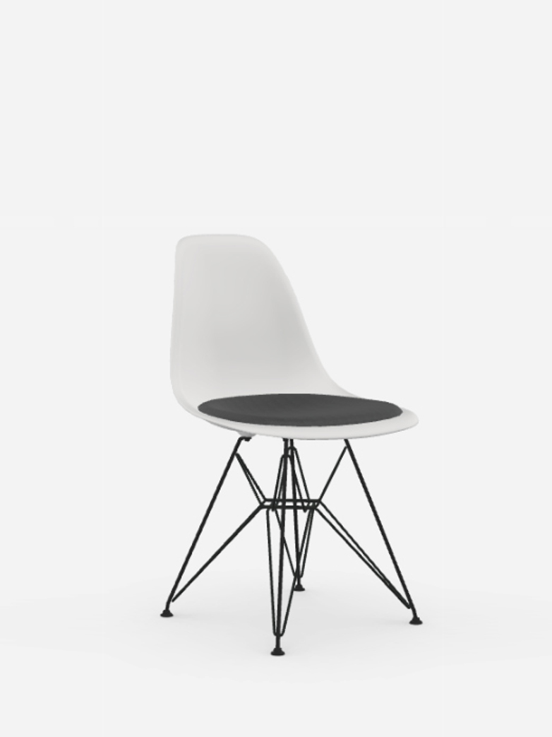 Eames Plastic Chair – DSR – Seat Upholstery – White/Dark Grey